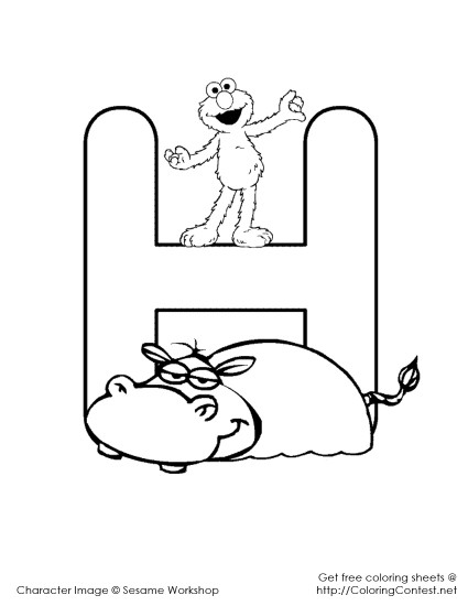 letter a coloring pages elmo - photo#17