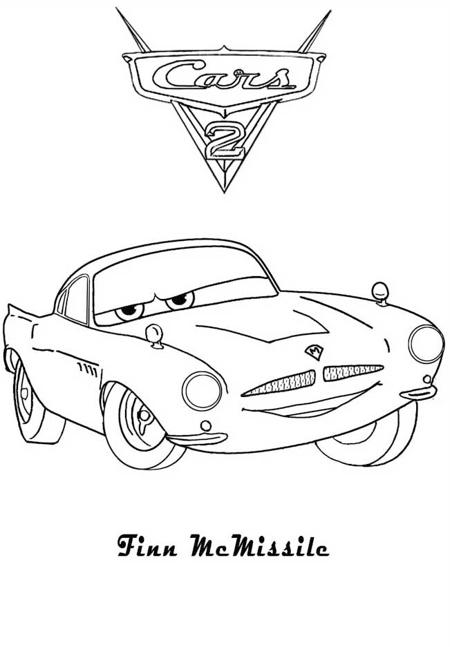 Cars and cars 2 coloring pages coloring pages for Finn mcmissile coloring page