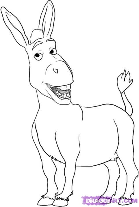Donkey From Shrek Colouring Pages