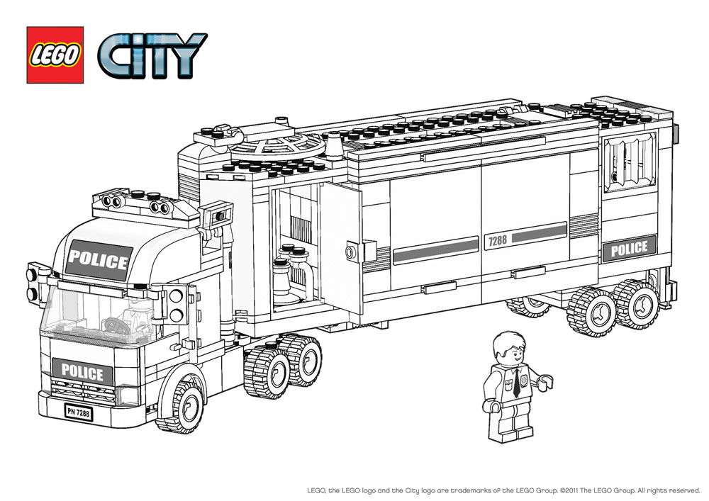 Free Coloring Pages Of Lego City Police Station