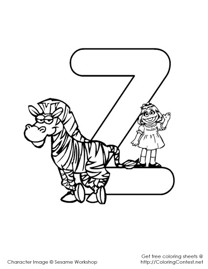 Sesame Street Alphabet Coloring Pages Z 425x550 Fd Sesame Alphabet Coloring Pages