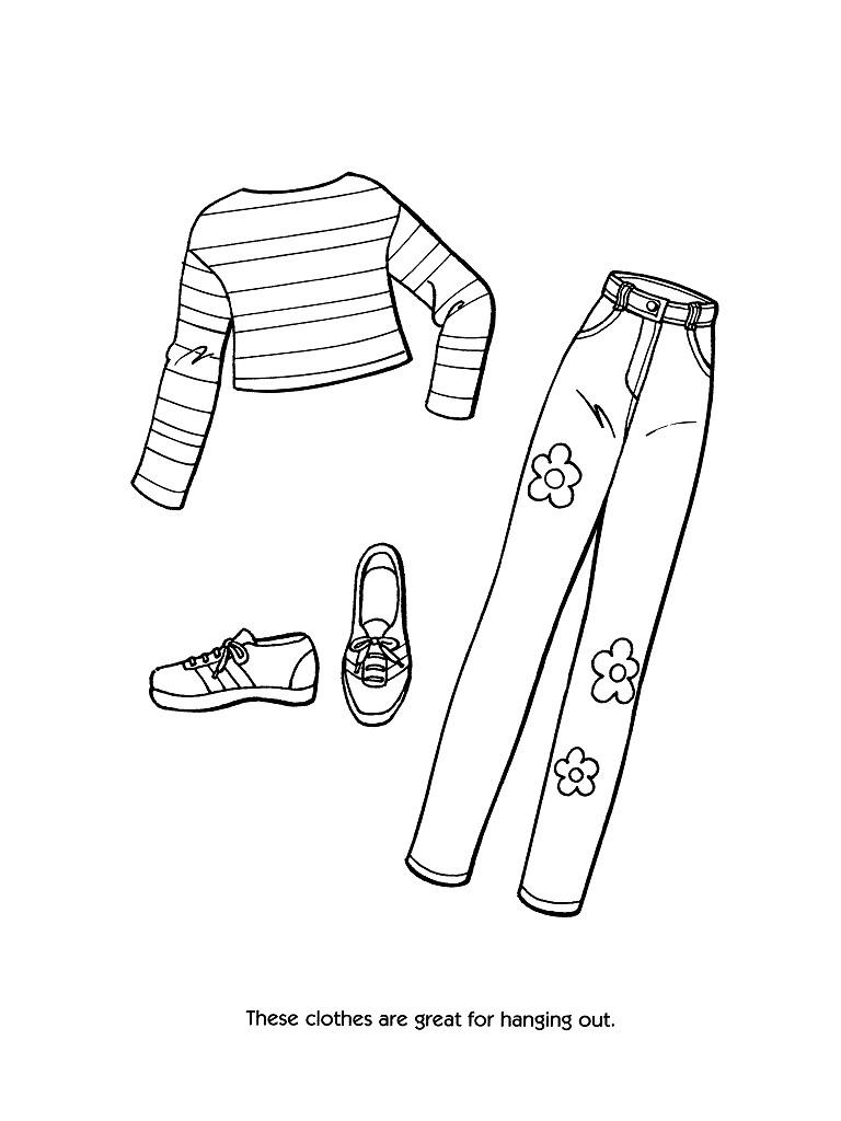 Раскраски модная одежда