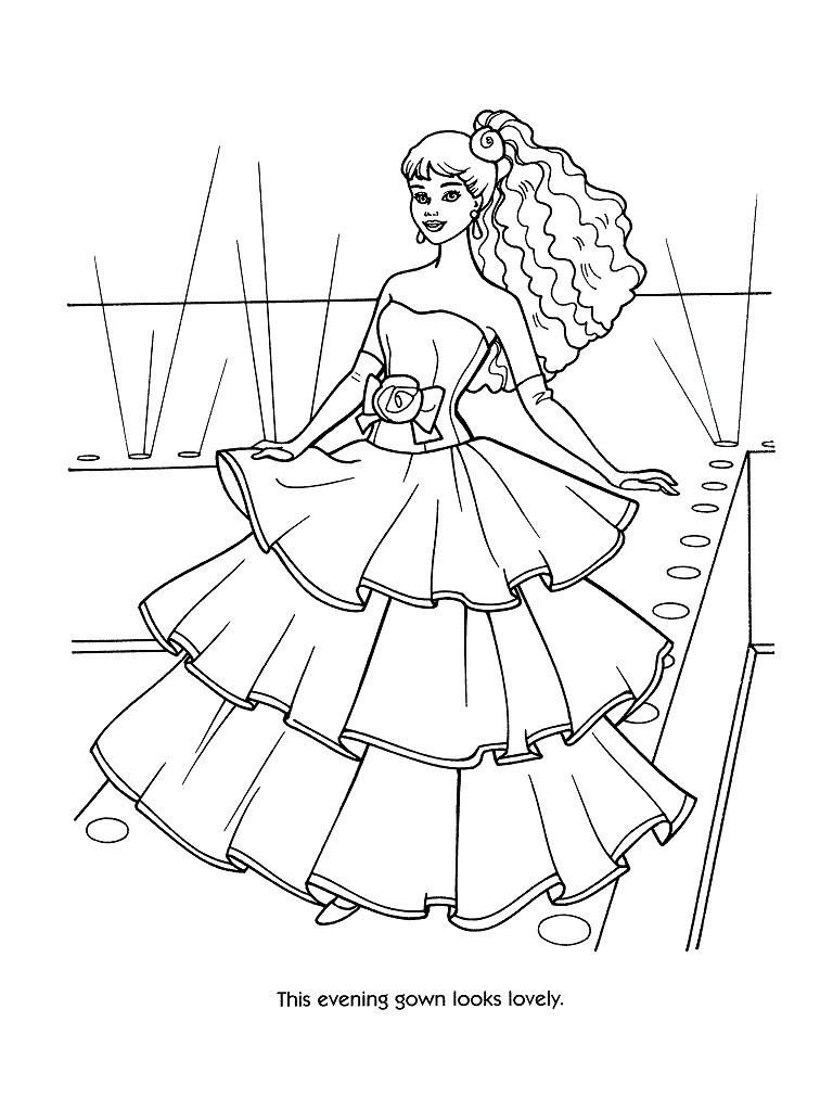 Barbie hair coloring games - Barbie Fashion Coloring Pages