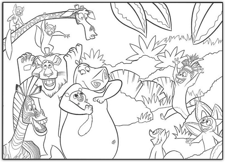madagascar coloring pages for kids - photo#12