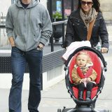 Bethenny Frankel, husband Jason Hoppy and their daughter Bryn go for a stroll together in Soho, one day after their two year wedding anniversary