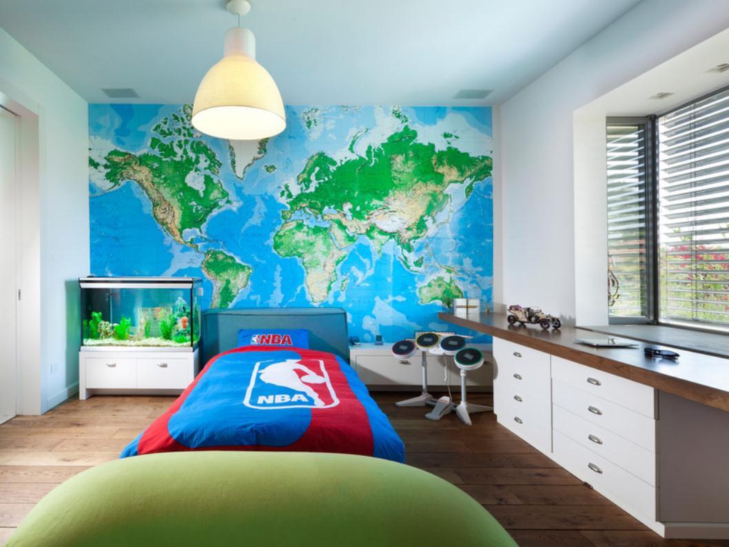 fish tank bedroom wall